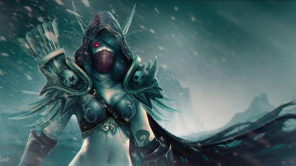 Обои Эльфийка лучница в снежную погоду