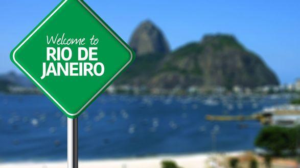 Обои Дорожный знак Welcome to Rio De Janeiro / Добро пожаловать в Рио Де Жанейро