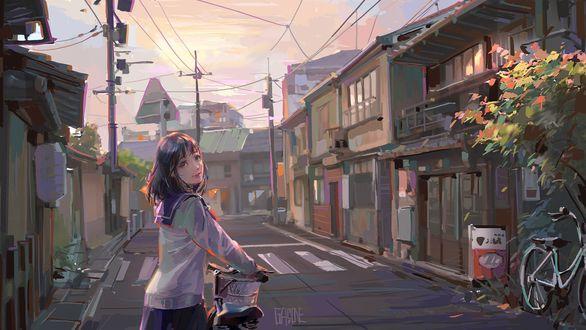 Обои Девочка в матроске катит велосипед по дороге в провинциальном японском городке