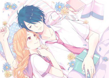 Обои Asai Yukiko / Асаи Юкико и Naoe Tsuyoshi / Наое Тсуеши лежат вместе на кровате среди цветов из аниме Nijiiro Days / Радужные Дни