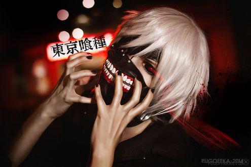 Обои Косплей Ken Kaneki / Кен Канеки из аниме Tokyo Ghoul / Токийский Гуль, by Pugoffka-sama