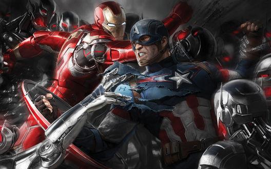 Обои Капитан Америка и Железный Человек дерущиеся против роботов Альтрона
