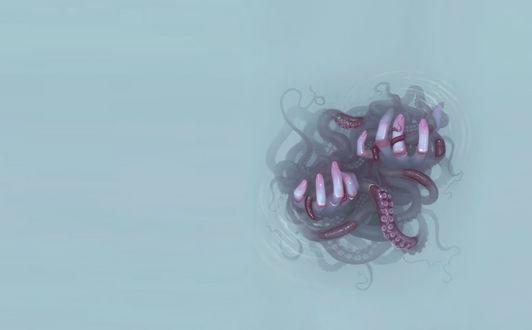 Обои Руки держащие щупальца осьминогов