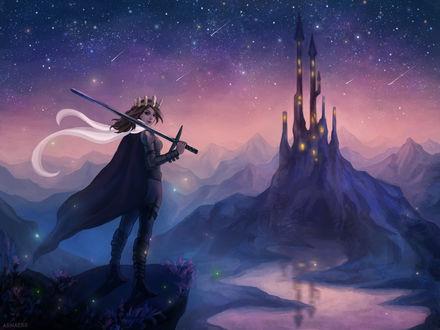 Обои Девушка с мечом стоит на обрыве перед волшебным замком, by arnaerr