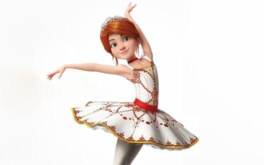 Обои Felicie Milline в пачке на белом фоне из мультфильма Ballerina