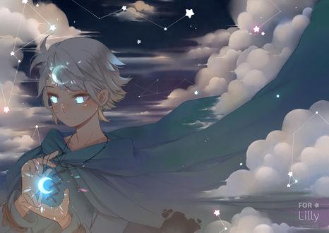 Обои Девушка с медальоном в виде месяца стоит на фоне созвездий, by Semcool