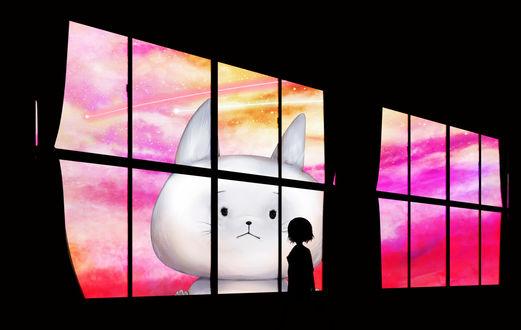 Обои Девочка смотрит в окно на огромного белого кота в космосе, by かざあな