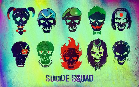 Обои Картинка со всеми персонажами из фильма Отряд Самоубийц / Suicide Squad