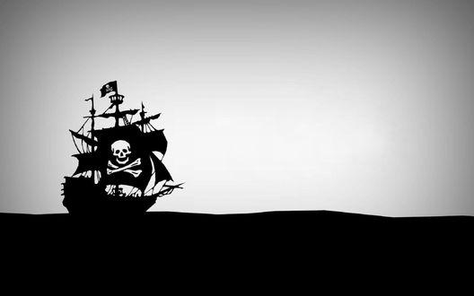 Обои Пиратский корабль на белом фоне