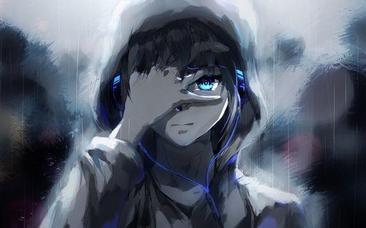 Обои Печальный парень под дождем