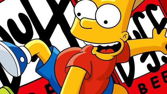 Обои Барт Симпсон / Bart Simpson из мультфильма Симпсоны / The Simpsons на фоне логотипа пива Duff