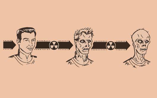 Обои График превращение человека в гуля под воздействием радиации из игры Fallout