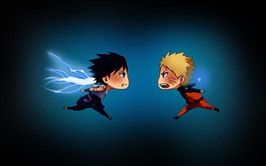 Обои Чибики Наруто / Naruto и Саске / Sasuke из аниме Naruto / Наруто