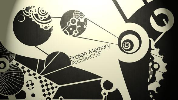Обои Абстрактное изображение с надписью Broken Memory / Поврежденная память, автор ArchitekOGP