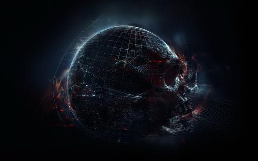 Обои Планета в форме очертаний черепа