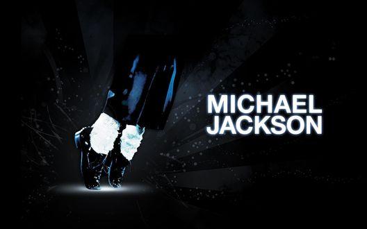 Обои Ноги человека стоящего в туфлях на носочках и надпись Michael Jackson / Майкл Джексон