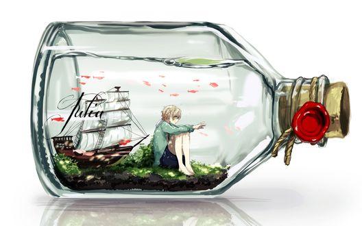 Обои Корабль в бутылке вместе с подростком нарисованным в стиле аниме