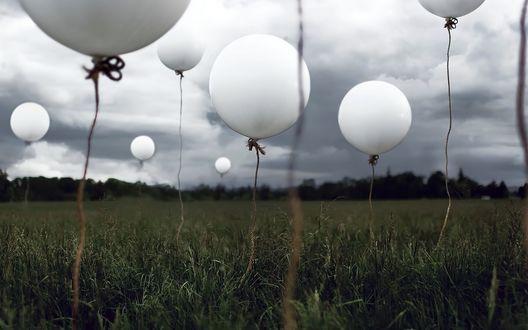 Обои Много воздушных шаров в поле
