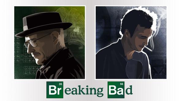 Обои Арт к сериалу Breaking Bad / Во все тяжкие на котором изображены Walter White / Уолтер Уайт и Jesse Pinkman / Джесси Пинкмэн
