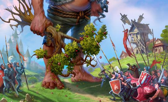 Обои Гигант стоит с деревом в руке, на него с двух сторон бегут воины с оружием