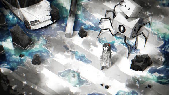 Обои Девочка идущая по разрушенному городу вместе с роботом
