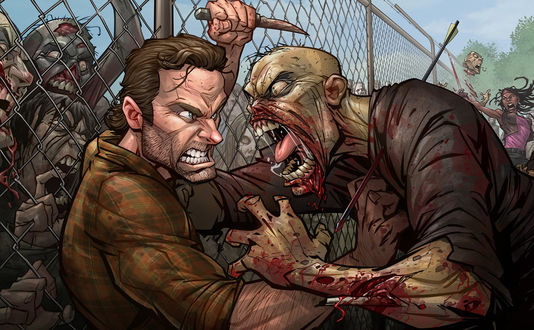 Обои Рик Граймс / Rick Grames из сериала Ходячие Мертвецы / The Walking Dead отбивается от зомби, художник Patrick Brown