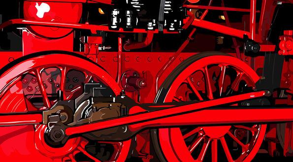 Обои Нарисованный красный паровоз