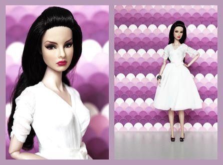 Обои Темноволосая девушка кукла в белом платье