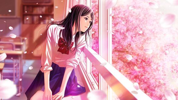 Обои Школьница смотрит в окно, by shun (-shune-)