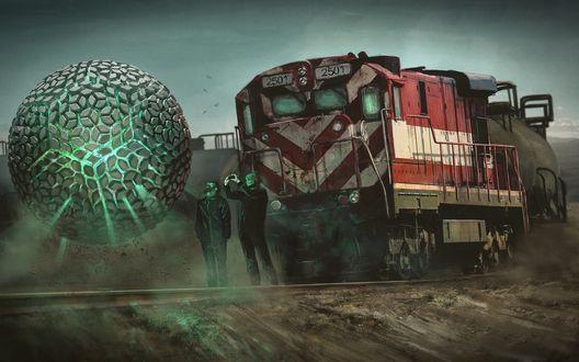 Обои Два человека на фоне поезда смотрят на странную сферу