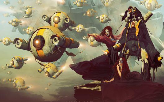 Обои Начало атаки, девушки в окружении роботов, художник Col Price