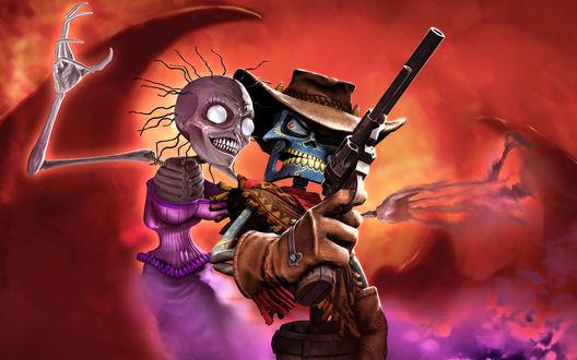 Обои Ковбой скелет держит в руке оружие, рядом с ним девушка скелет