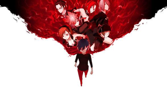 Обои Арт к аниме Выжившие среди демонов, на арте стоит парень и позади него развевается плащ на котором изображены другие герои аниме