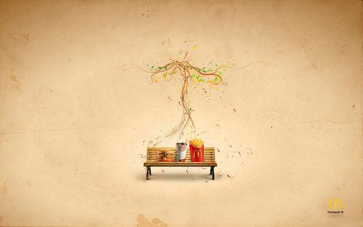 Обои Лавочка на фоне нарисованного дерева и с едой из Макдональдса / McDonalds