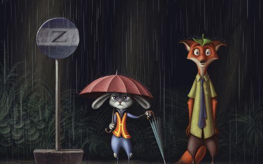 Обои Джуди Хоппс / Judy Hopps подает зонт Нику Уайлду / Nick Wilde из мультфильма Зверополис / Zootopia