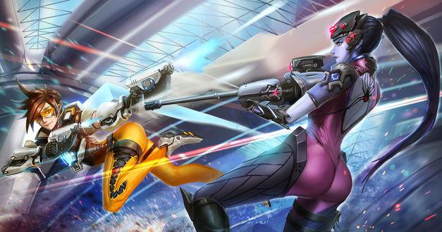 Обои Трейсер / Tracer сражающаяся против Роковой Вдовы / Widowmaker из игры Overwatch / Дозор