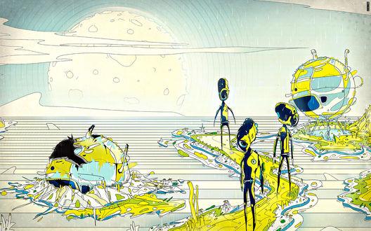 Обои Психоделическая картина в которой роботы идут по тропе между планетами