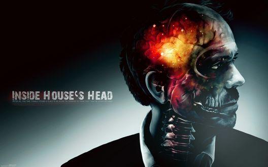 Обои Хью Лори / Hugh Laurie в образе Грегори Хауса / Gregory House из сериала Доктор Хаус / House M. D. И надпись Inside Gouses head / Внутри головы Хауса