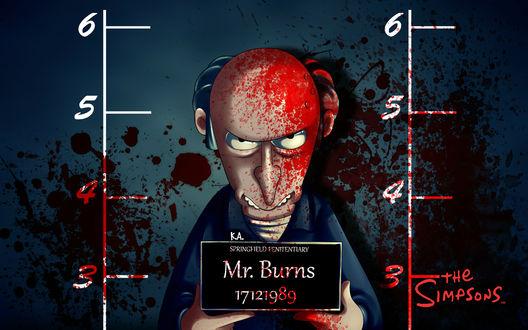 Обои Мистер Барнс / Mr. Burns из мультфильма Симпсоны / The Simpsons весь в крови держащий табличку с его именем
