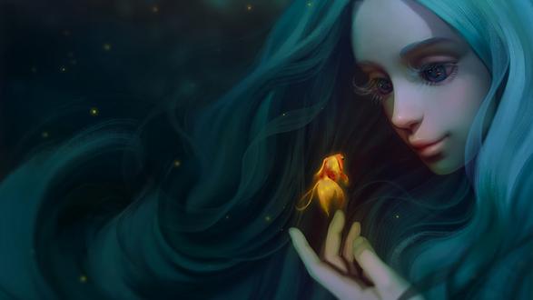 Обои Девушка под водой подставила руку проплывающей золотой рыбке, by @SayaArt