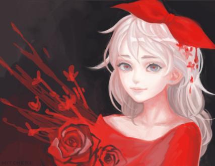 Обои Девушка с красным бантом на голове и розами, by Witchere