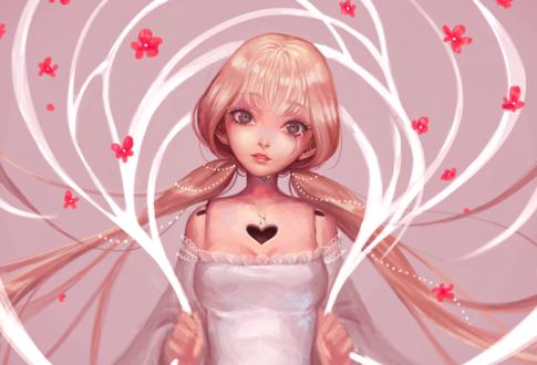 Обои Девушка с сердечком на груди, by Witchere