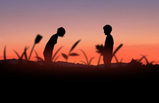 Обои Силуэты парня и девушки на фоне неба, by gryalphk