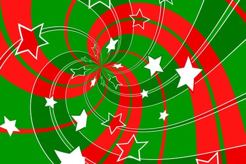 Обои Звездочки и красные зигзаги на зеленом фоне