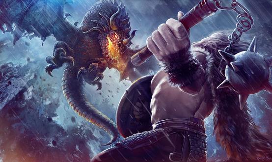 Обои Воин с моргенштерном и щитом готовится к атаке дракона
