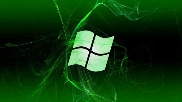 Обои Логотип операционной системы Windows в зеленом цвете