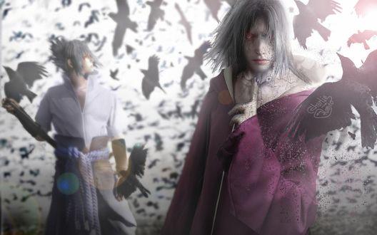 Обои Uchiha Sasuke / Учиха Саске и Uchiha Itachi / Учиха Итачи из аниме Наруто / Naruto