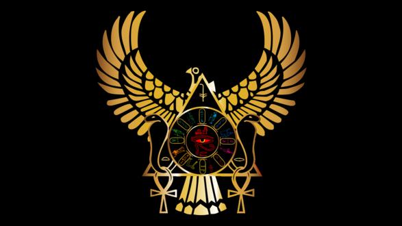 Обои Египетский знак, сокол раскрыл крылья посреди треугольника со змеями, египетскими фараонами и глазом,