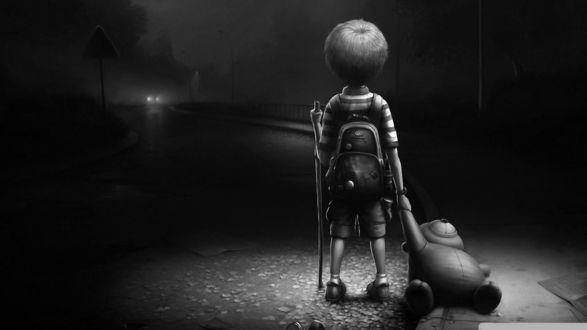 Обои Ребенок на темной улице держит за руку медвежонка