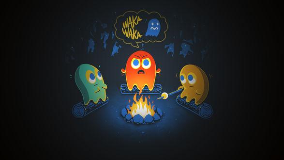 Обои Привидения из игры PacMan сидят возле костра и расказывают страшилки